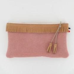 Pochette cuir et toile à frange - Camel/Rose
