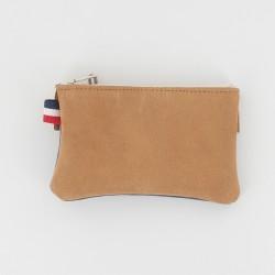 Porte monnaie cuir et toile à frange - Camel/Rose