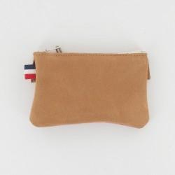 Porte monnaie cuir et toile à frange - Camel/Bleu