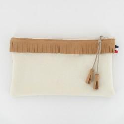 Coffret chausson, pochette - Camel/Ecru