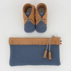 Coffret chausson, pochette - Camel/Bleu