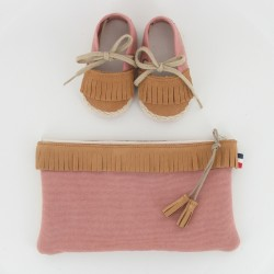 Coffret chausson, pochette - Camel/Rose