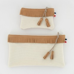 Coffret pochette et porte monnaie - Camel/Ecru