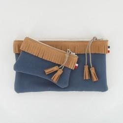 Coffret pochette et porte monnaie - Camel/Bleu