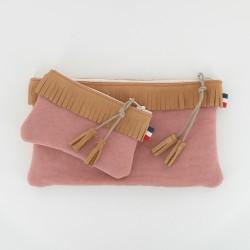 Coffret pochette et porte monnaie - Camel/Rose