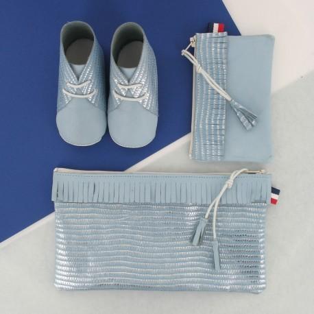 Coffret chausson, pochette et porte monnaie - Bleu