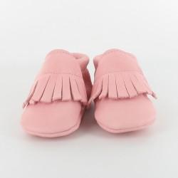 Chausson bébé souple cuir bio applique franges - rose