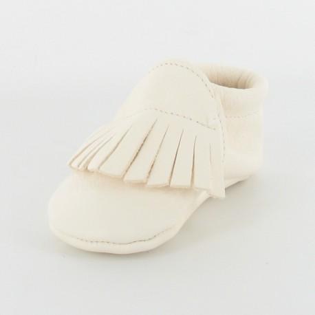 Chausson bébé souple cuir bio applique franges - ivoire