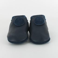 Chausson bébé souple cuir bio applique ronde - marine