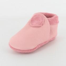 Chausson bébé souple cuir bio applique ronde - rose