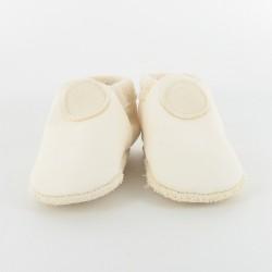Chausson bébé souple cuir bio applique ronde - ivoire