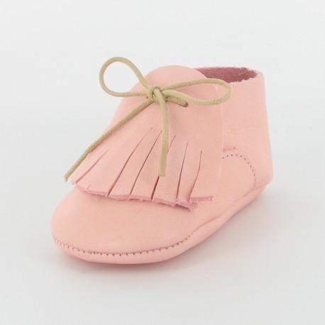 Chausson bébé cuir bio - rose