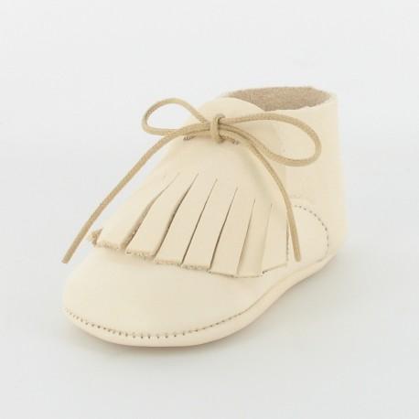 Chausson bébé cuir bio - ivoire