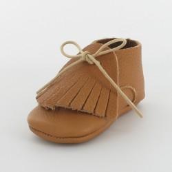 Chausson bébé cuir bio - camel