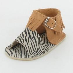 Chausson bébé sandalette à franges - camel