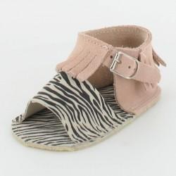 Chausson bébé sandalette à franges - rose