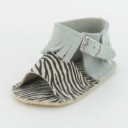 Chausson bébé sandalette à franges - ciel