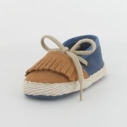 Chausson bébé espadrille à franges - Bleu/Camel