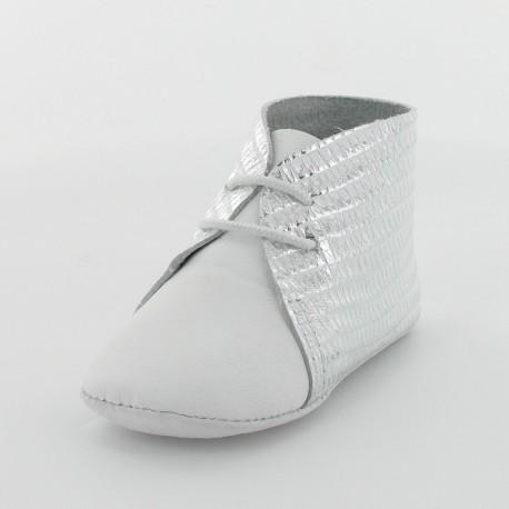 Chausson bébé cuir imprimé éthio - Blanc