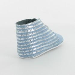 Chausson bébé cuir imprimé éthio - Ciel