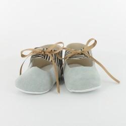 Chausson bébé ballerine en cuir zèbre - Ciel