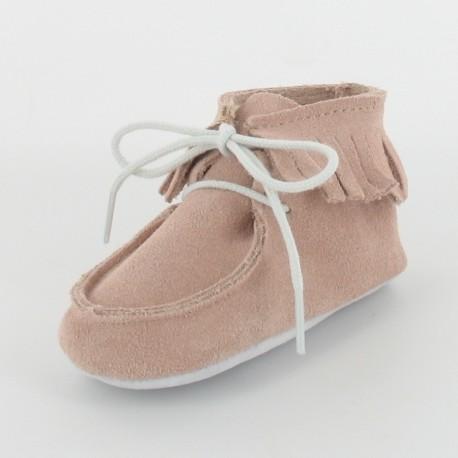 Chausson bébé cuir à franges - Rose
