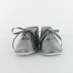 Chausson bébé cuir métallisé - gris
