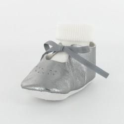 Chausson bébé ballerine cuir métallisé avec chaussette - gris