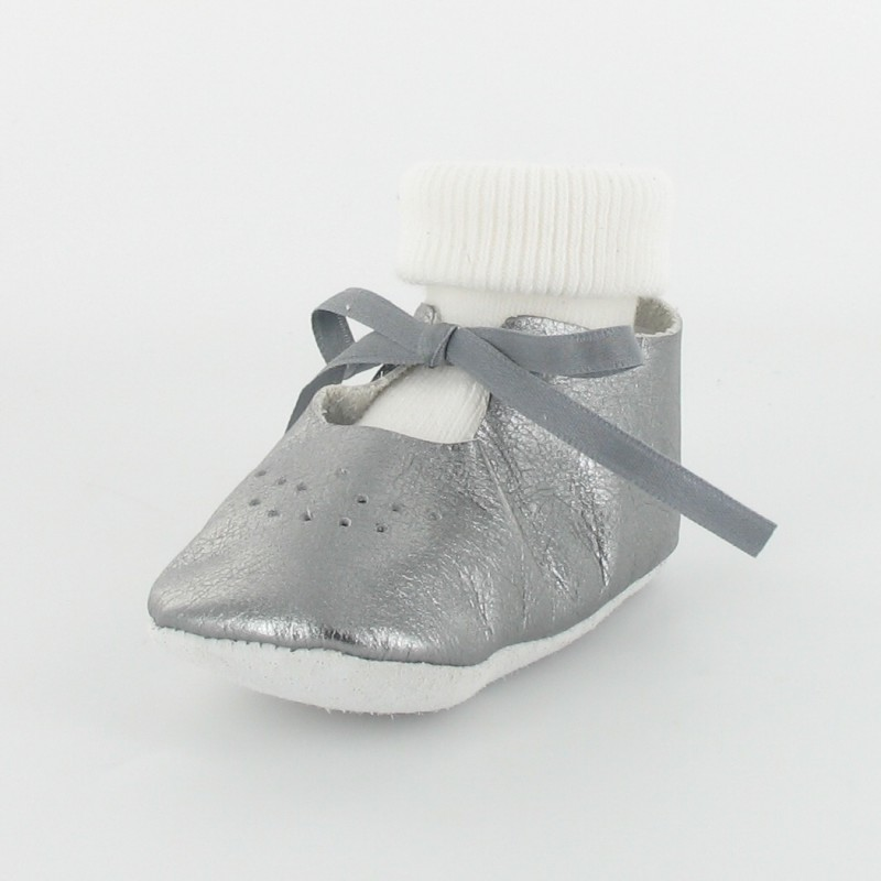 chausson b b ballerine en cuir m tallis avec chaussette gris. Black Bedroom Furniture Sets. Home Design Ideas
