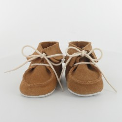 chausson bebe cuir a frange camel