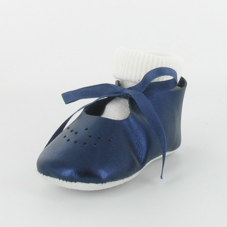 Chausson bébé ballerine cuir métallisé avec chaussette - marine