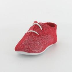 Chausson bébé cuir pailleté - Rouge