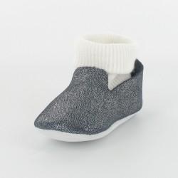 Chausson bébé cuir pailleté avec chaussette - Marine