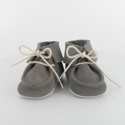 Chausson bebe cuir a frange gris