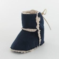 Chausson bébé botte fourré - Marine
