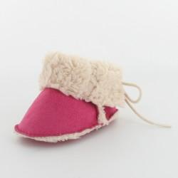 Chausson bébé botte fourré - Fuchsia