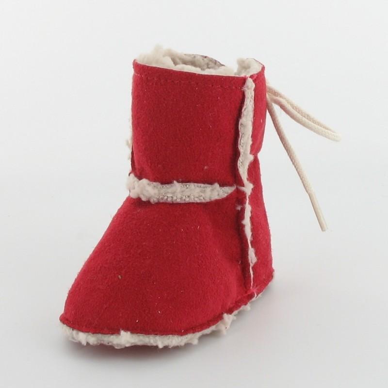1eef6fe7bd819 Chausson bébé botte fourré rouge - Fabrication française