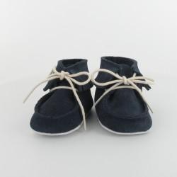 Chausson bebe cuir a frange - Marine