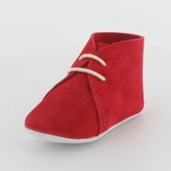 Chausson bébé en croûte velours - Rouge