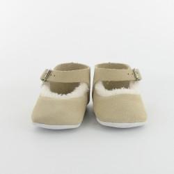 Chausson bébé ballerine fourré en cuir - Beige