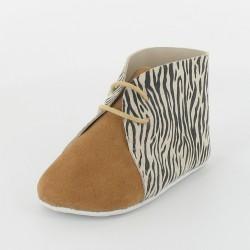 Chausson bebe en cuir zebre - Camel