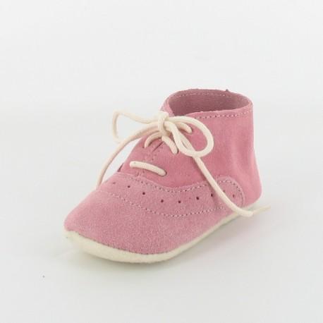 Chausson bébé cuir derby - rose