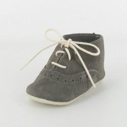 Chausson bébé cuir derby - gris