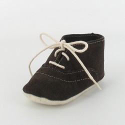 Chausson bébé cuir derby - marron