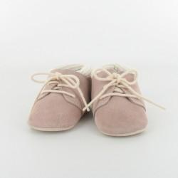 Chausson bébé cuir et tricot - rose