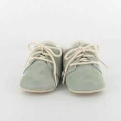 Chausson bébé cuir et tricot - ciel