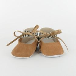 Chausson bébé ballerine en cuir zèbre - Camel